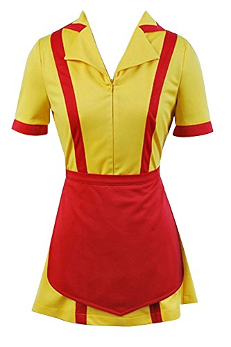 Ya-cos Halloween Masquerade Girls Maid Dress Max and Caroline Waitress Uniform(Large, Yellow&Red)