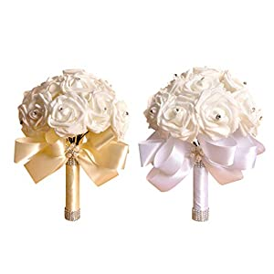 New Crystal Roses Pearl Bridesmaid Wedding Bouquet Bridal Artificial Silk Flowers (Free, Beige) 96