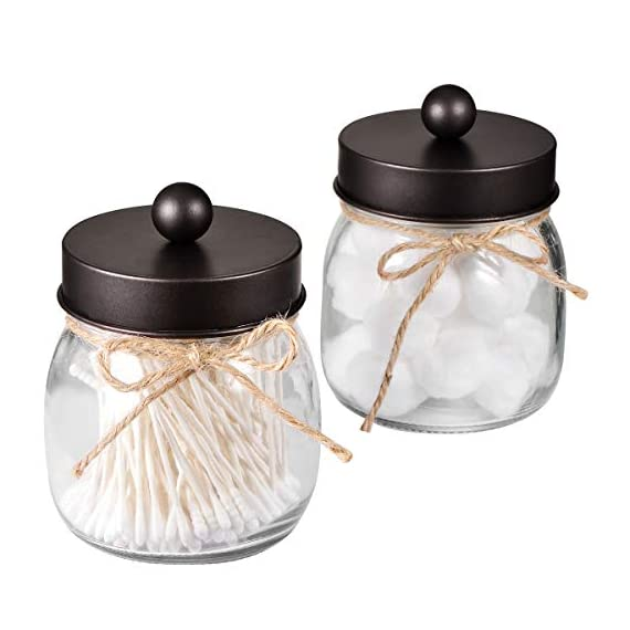 Mason Jar Bathroom Apothecary Jars - Rustproof Stainless Steel Lid,Farmhouse Decor,Bathroom Vanity Storage Organizer Holder Glass for Cotton Swabs,Rounds,Ball,Flossers,Bath Salts (Bronze, 2-Pack) - ✅The jars will be a fun,cute and beautiful addition to your home. Ideal home decor, rustic decor, western decor, bathroom decor, farmhouse decor, farmhouse style, western, rustic style, contemporary decor ✅This Mason storage jars are an attractive way to organize items like cotton swabs, cotton balls, flossers,bath salts,hair bands,or any other bathroom necessities and accessories. Plus they're simple and affordable to make! ✅ Materials: 8 oz. mason jars with regular mouth.Mental lids fits well, easy to open,durable and rust-proof.Please kindly note: The lid would not screw onto the jar, so it comes off very easily - organizers, bathroom-accessories, bathroom - 41mg8cAA7PL. SS570  -