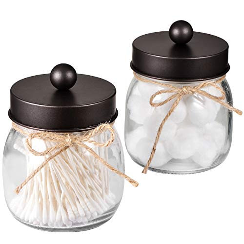 Mason Jar Bathroom Apothecary Jars - Rustproof Stainless Steel Lid,Farmhouse Decor,Bathroom Vanity Storage Organizer Holder Glass for Cotton Swabs,Rounds,Ball,Flossers,Bath Salts (Bronze, 2-Pack)