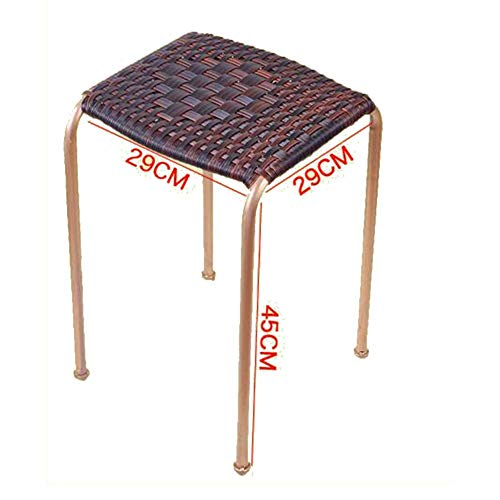 BBG Fashion Creative Small Furniture Anti-Slip Stool Footstool Work Stool Shower Stool Step Stool Rattan Leisure Fashion Sitting Stool Outdoor Antique Breathable Multifunction Household Creative,Blac