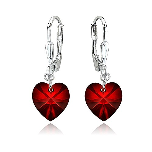 (Sterling Silver Red Heart Dangle Leverback Earrings Made with Swarovski Crystals)