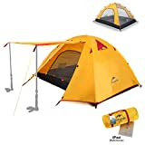 Backpacking Tent - Topnaca 2-4 Person 3 Season Backpacking Tent Waterproof Awning Design Two Doors Double Layer with Aluminum Rods for Outdoor Camping Family Beach Hunting Hiking Travel (Orange, 4 Person)
