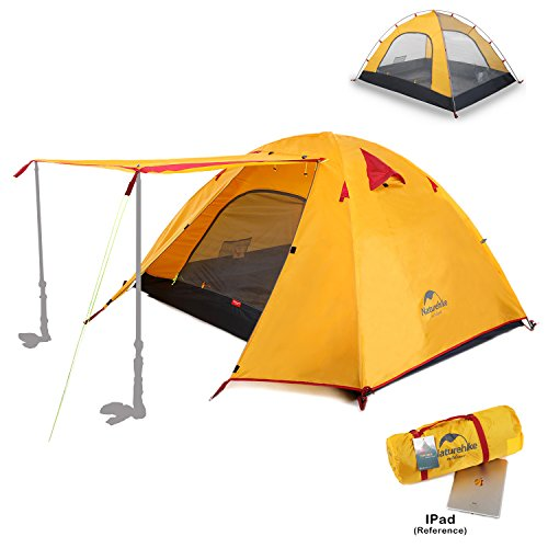 Nylon 3 Person Backpacking Tent (Naturehike 2 3 4 Person 3 Season Backpacking Tents for Camping, Ultralight Waterproof Vestibule Awning Two Doors Double Layer with Aluminum Rods for Family Beach Hunting Hiking (Orange, 4 Person))