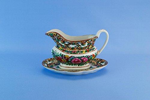 Porcelain Famille Rose Gravy Boat Platter Pink Green Chinese Hong Kong 1970s Vintage Pink Roses Gravy