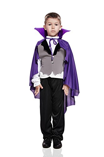 Kids Boys Gothic Vampire Halloween Costume Count Dracula Dress Up & Role Play (6-8 (Midnight Vampire Costume Child)