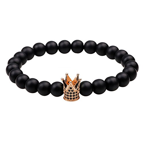 Winter's Secret Black Frosted Beads Bronze Zirconia Crown Accessories Bracelet Lover Energy Jewelry