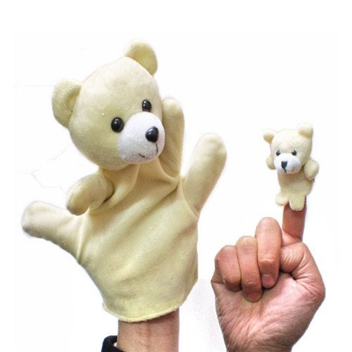 Diy Storybook Costumes For Boys (2Pcs (1 Big+1 Small) Lovely Kids Baby Plush Toys Finger Puppet Talking Props Animals Hand Puppets^bear.)
