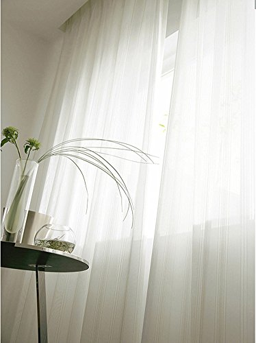 Crushed Chenille - ASide BSide European Style Chenille Striped Sheer Curtains Rod Pocket Top Window Treatments for Living Room Dining Room Bedroom and Kids Room (2 Panels, W 50 x L 84 inch, White)
