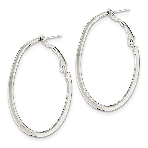 - Sterling Silver 1.5 mm Oval Hoop Omega Clip Back Earrings - 40 mm
