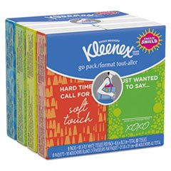 Kleenex White Pocket (Facial Tissue Pocket Packs, 3-Ply, White, 10/Pouch, 8 Pouches/Pack, 12/Ctn)