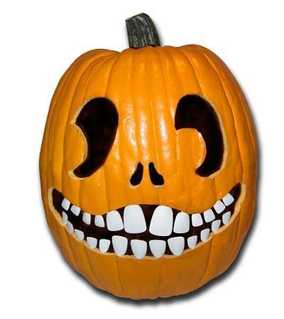 Halloween Pumpkin Carving Kit - Pumpkin Teeth for your Jack O' Lantern - Set of 18 White Buck Teeth]()