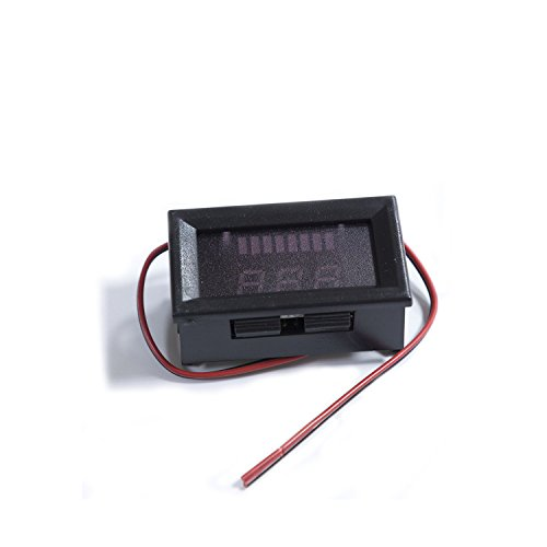 Digital Battery Meter Panel Red LED Acid Lead/Lithium Polymer/Lithium Iron Phosphate/NiMH Battery Capacity Gauge Meter Panel DC 12V-60V 3PCS/PACK ()