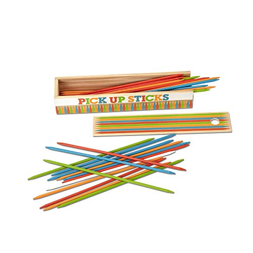 Melissa & Doug Wooden Pick-Up Sticks Tabletop Game with 41 Colorful Wooden Pieces in Wooden Storage Box