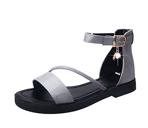 1 sandali Fibbia da piatti degli pelle scamosciata con donna a KUKI romani punta romani in studenti aperta waFqnT1