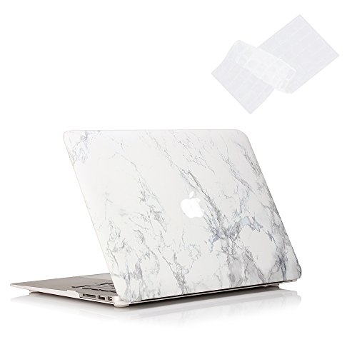 Ruban MacBook Air 13 Inch Case - Fits Previous Generations A1466 / A1369 (Will Not Fit 2018 MacBook Air 13 with Touch ID), Slim Snap On Hard Shell Protective Cover and Keyboard Cover,White Marble