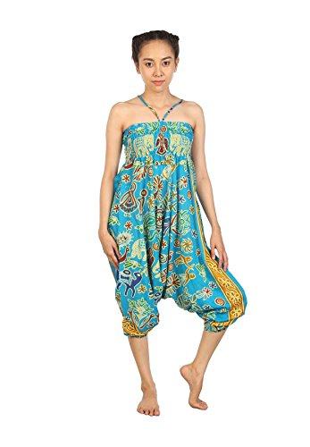 Lofbaz Mujeres Pantalones de la chic Aladdin Pantolin Arabes ropa Boho Elephant 2 Azul claro