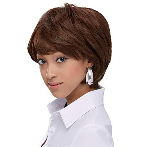 Zlolia Short Bob Hair Wigs Straight with Flat Bangs Synthetic Colorful Cosplay Daily Party Wig for Women Natural As Real Hair