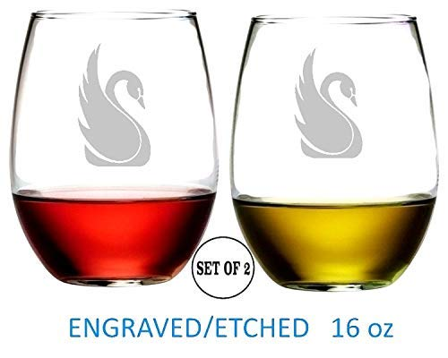 swan Stemless Wine Glasses Etched Engraved Perfect Handmade Gifts for Everyone Set of 2
