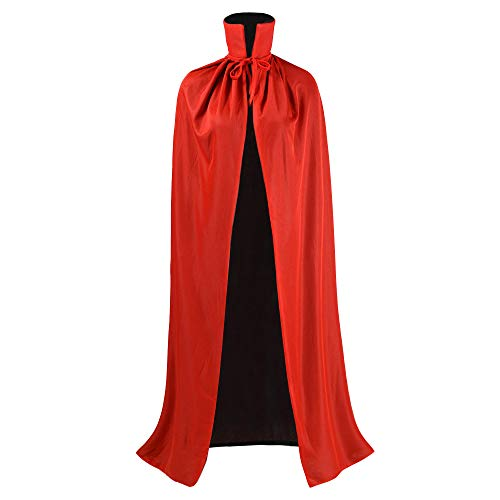 Black and Red Reversible Halloween Christmas Cloak Masquerade Party Cape Costume (35 inch, Stand Collar)