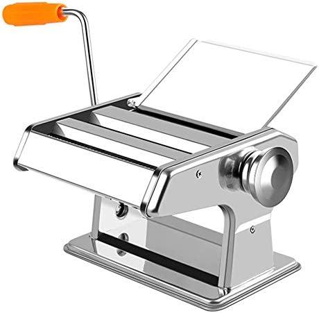 パスタ麺メーカーマシンマニュアルプロフェッショナルパスタメーカー、ペストリーローラースパゲッティタリアテッレメーカー、クランクハンドルで、簡単に操作するために,銀