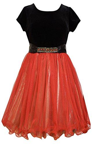 Big Girls Tween Stretch Velvet to Beaded Waist Lame Fit Flare Dress, X4-TG16-HOL15, Bonnie Jean, Red, 10