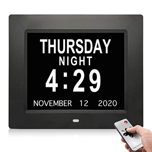 SSA [2020 Newest Version] Dementia Clock,Digital Day Calendar Alarm Clock- Alarms,Non-Abbreviated Day & Month Memory Loss,Dementia,Alzheimer's Vision Impaired Clock for Elderly Seniors