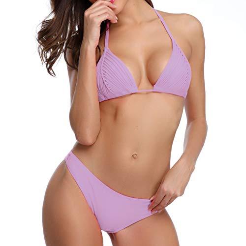 (Women's Sexy Solid Color Braided Triangle Triangle Bikini Hanging Neck Strap High Waist Split Swimsuit Beachwear Purple)