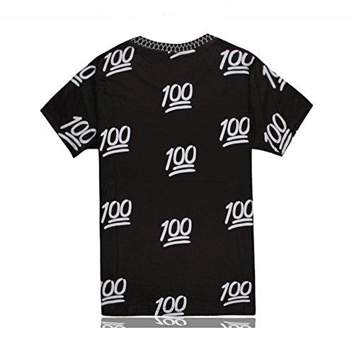 APTRO Unisex Cute Cartoon Faces New Summer Style Emoji Short Sleeves Shirt Black White 100 M