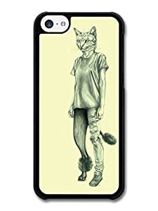 MMZ DIY PHONE CASEAMAF ? Accessories Half Cat Half Woman Illustration case for ipod touch 4