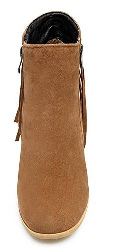 Style Brun Femme Aisun Bottines Chunky Franges Mode Talons A7xqTW
