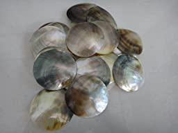 30 Pcs Natural Mother of Pearl (MOP) Shell Black Round Cut