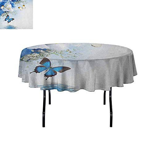 - Curioly Floral Washable Tablecloth Blue and White Wild Flowers with Monarch Butterflies Lily Therapy Zen Spa Art Prints Dinner Picnic Home Decor D40 Inch Pale Blue