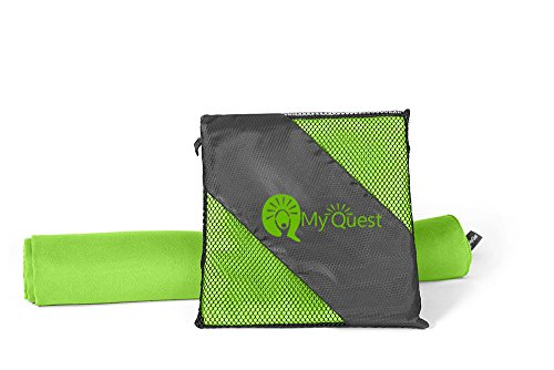 MyQuest Microfiber Sports Towel (3 Sizes, 5 Colors) – Includes Travel Case – Premium Quick Dry Cloth for The Bath, Beach, Gym, and Yoga – Antimicrobial – Green