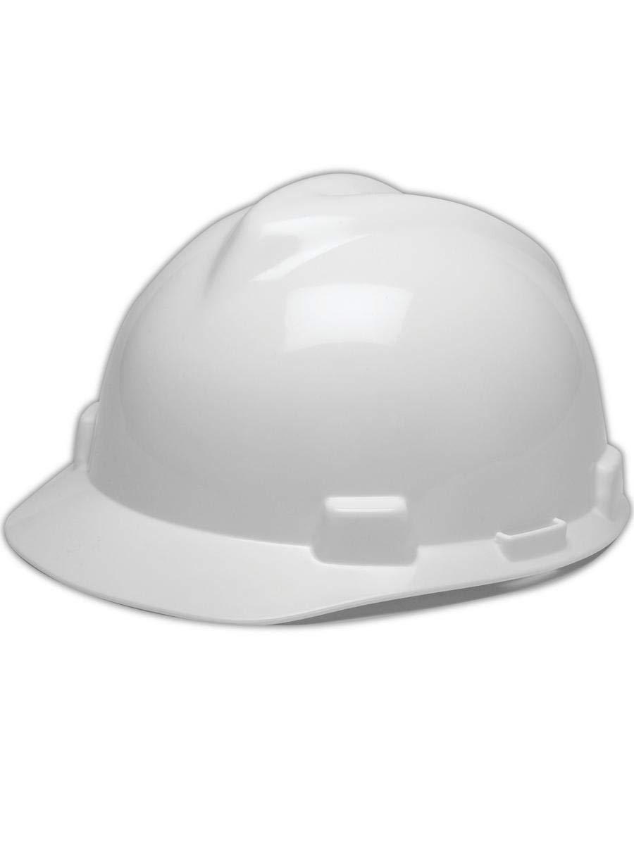 MSA WHITE V-Gard Cap Style Safety Hard Hat Ratchet Suspension NEW Fast Shipping!