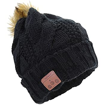 Tenergy Wireless Bluetooth Beanie Hat with Detachable Stereo Speakers & Microphone, Fleece-lined Faux Fur Pom Pom Music Beanie for Women Outdoor Sports (Black)