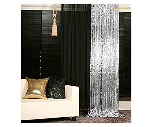 ShinyBeauty Sparkle Backdrop Curtain Silver 2 Panels Set Sequin Photo Backdrop 2FTx8FT Sequin Backdrop Curtain Pack of 2-1220S (Silver Panel 8)