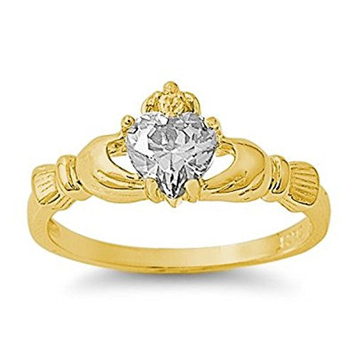 18k Gold Plated .925 Sterling Silver April Clear White Simulated Topaz Irish Royal Heart Claddagh Ring 4-10 (9, .925 FINE ITALIAN STERLING SILVER)