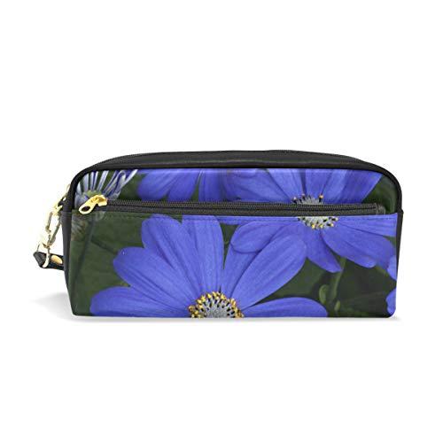 Pen Case Blue Daisy Flower Pencil Pouch Makeup Cosmetic Travel School Bag (Beaded Pen Daisy)