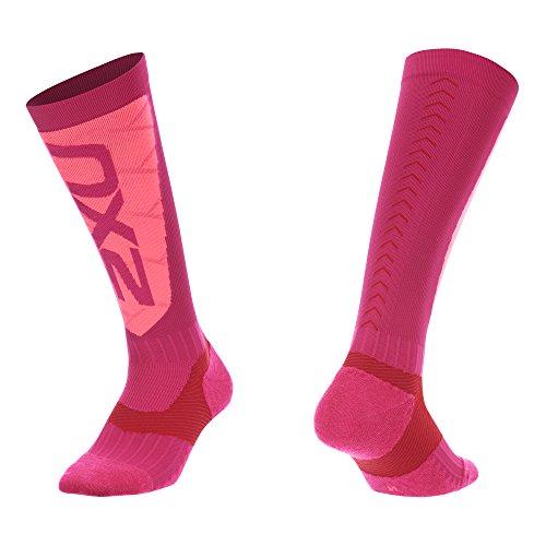Ski And Snowboard Outlet - 2XU Women's Elite Compression Alpine Socks, Hot Pink/Pink, Large