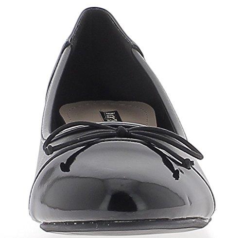 Escarpins bi matière aspect cuir bouts ronds à petits talons de 3,5cm