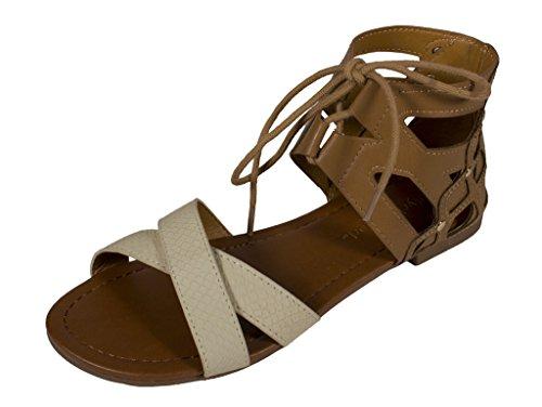 City Classified Women's Wabash Open Toe Lace Up Strappy Cut Out Sandal, sand beige leatherette, 8 M US