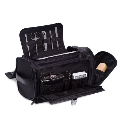 Black Leather & Nylon All In One Executive Tote Bag-13 Pieces by Bey-Berk