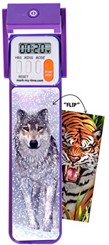 "Mark-My-Time 3D ""FLIP"" Snow Wolf/Tiger Digital LED Booklight Reading Timer by Mark-My-Time"