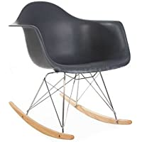 ModHaus Mid Century Modern Eames Style RAR Gray Rocking Rocker Chair Nursery Living Room