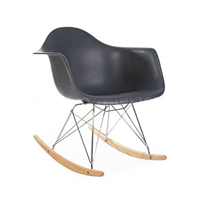 ModHaus Mid Century Modern Eames Style RAR Gray Rocking Rocker Chair Nursery Living Room