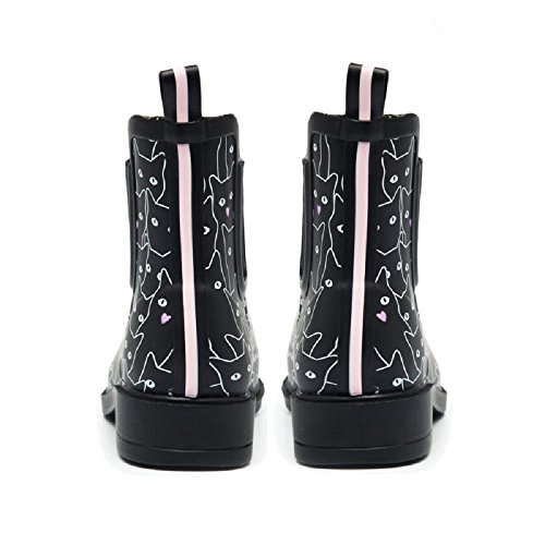 Women Fashion Rubber Rain Boots Female Elastic Band Ankle Rainboots Animal Waterproof Woman Water Shoes Black cNitq3T
