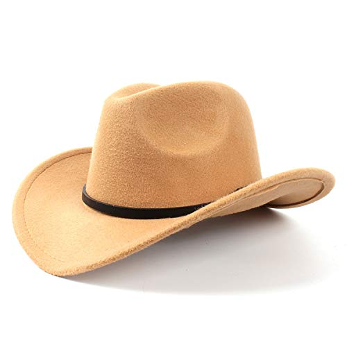 SINXE Wool Women's Men's Western Cowboy Hat for Gentleman Lady Jazz Cowgirl Roll-up Wide Brim Church Sombrero Caps Khaki