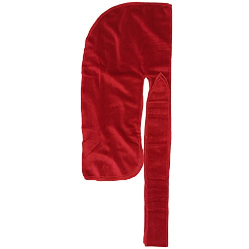 UPC 761856071841, The Mane Durag - (Red) Velvet Durag for 360, 540 and 720 Waves - Extra Long, Wide Straps - Extra Compression Wave Cap - Excellent Wave Brush Accessory!