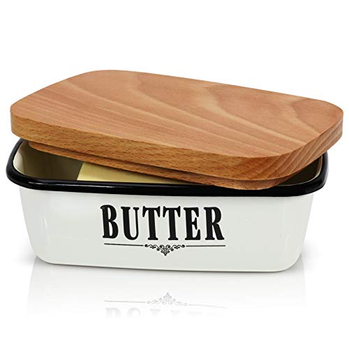 GranRosi Butter Dish - Vintage Enamel Butter Container With Versatile Wooden Lid - Perfect To Keep Your Butter Soft